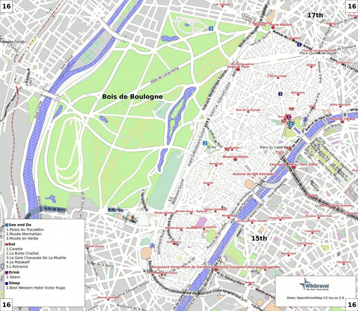 16 Arrondissement Parizs Terkep Terkep 16 Arrondissement Parizs